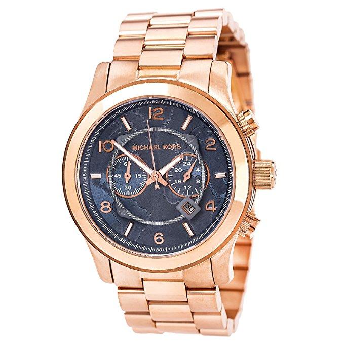 Michael Kors Unisex Mk8358 Hunger Stop Oversized Runway Watch - Rose Gold Toned